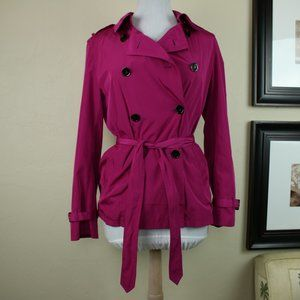 Ann Taylor Button Up Raincoat Trench Coat Pink